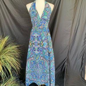 Tommy Bahama Paisley Maxi Halter Dress M